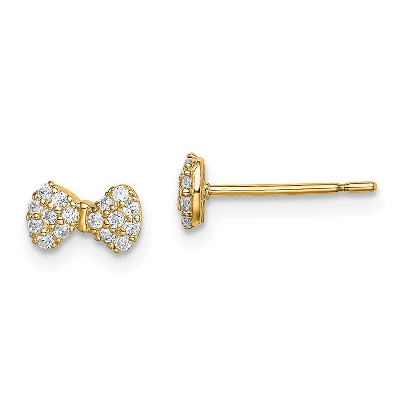 Quality Gold 14k Madi K CZ Bow Post Earrings