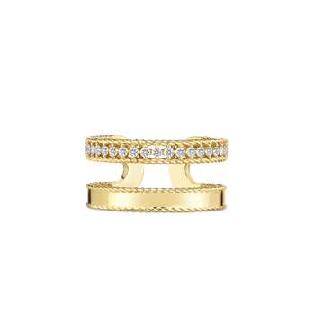 18Kt Gold Double Symphony Princess Ring With Diamonds