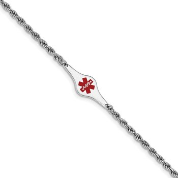 Sterling Silver Rhod-plated Children's Medical ID Rope Link Bracelet
