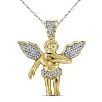 10k Yellow Gold Mens Diamond Polished 3D Guardian Angel Cherub Charm Pendant 1/6 Cttw