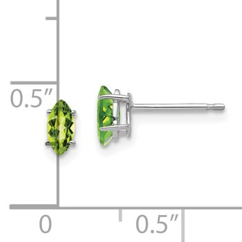 14k White Gold 6x3mm Marquise Peridot earring