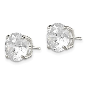 Sterling Silver 10mm Round Basket Set CZ Stud Earrings