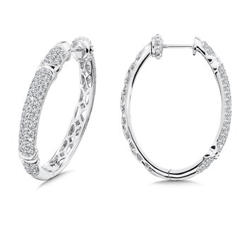 Locking 4-Row Diamond Hoops in 14K White Gold with Platinum Post