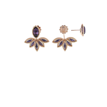 18Kt Rose Gold Fan Earrings With Amethyst