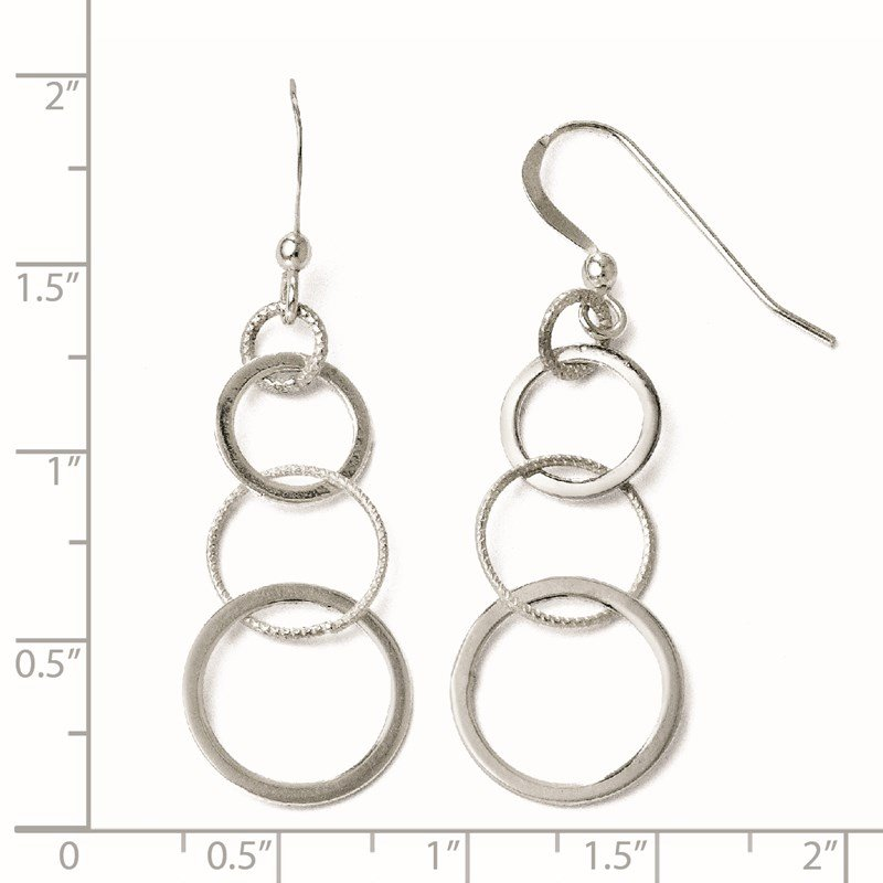 Leslie's Italian Gold Leslie's Sterling Silver Polished Shepherd Hook Dangle Earrings