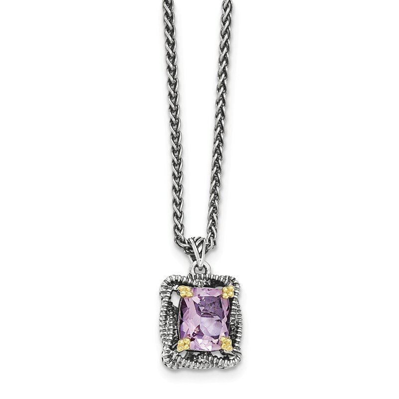 Shey Couture Sterling Silver w/14k Pink Quartz Necklace