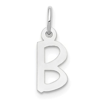 14k White Gold Small Slanted Block Letter B Initial Charm
