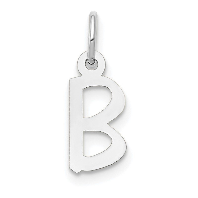 Quality Gold 14k White Gold Small Slanted Block Letter B Initial Charm