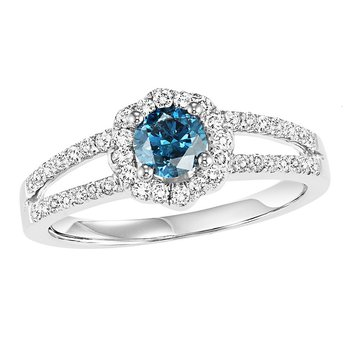 14K Blue & White Diamond Engagement Ring 3/4 ctw Complete