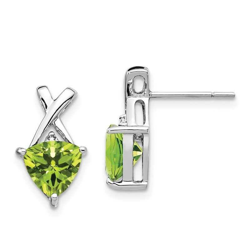 Quality Gold 14k White Gold Peridot and White Topaz Trillion Post Earrings
