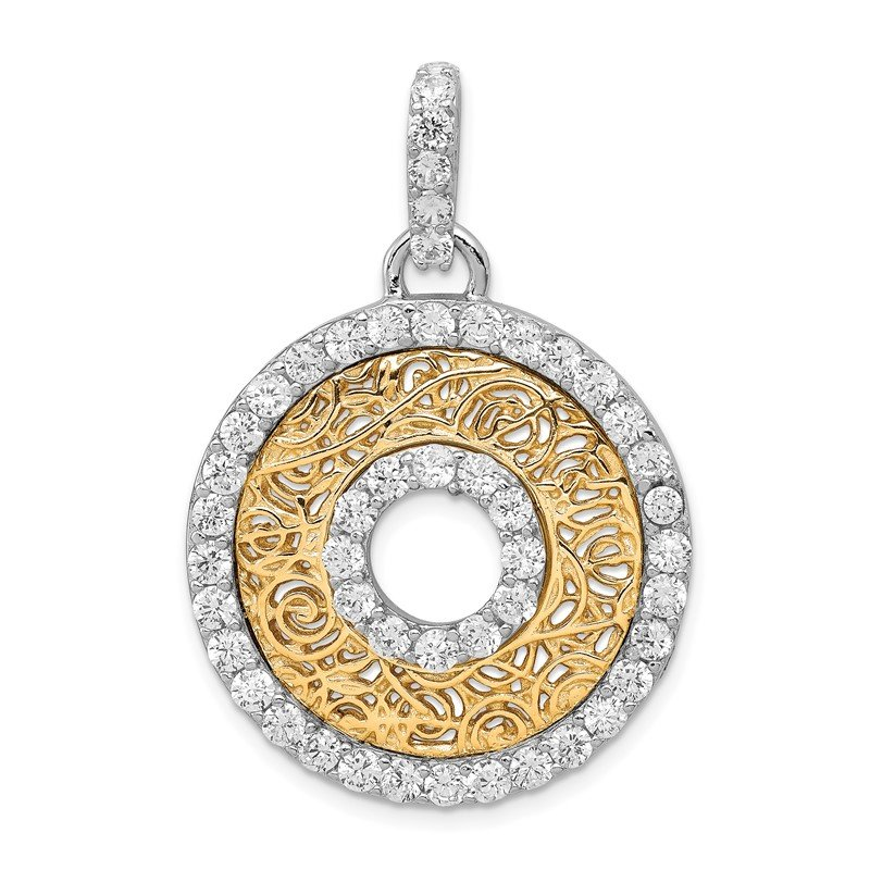 Quality Gold Sterling Silver Rhodium-platedCZ & Vermeil Circle Pendant