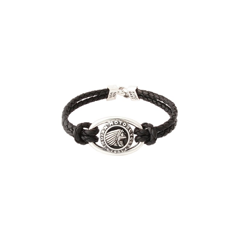 King Baby Double Black Leather Braid Bracelet With Indian Icon And Hook Clasp