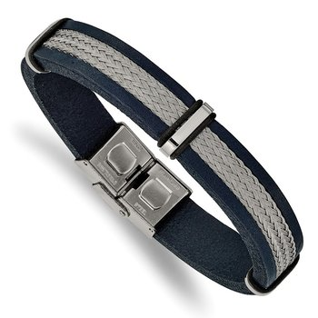 Stainless Steel Polished Blue Leather and Wire 8.5in Bracelet