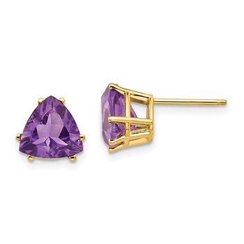 14k 8mm Trillion Amethyst Earrings