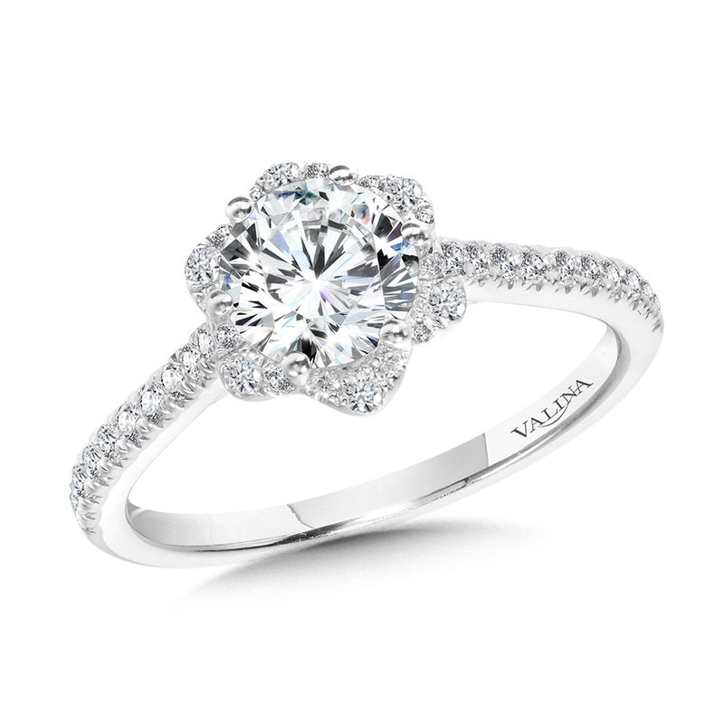 Valina Straight Floral Halo Engagement Ring