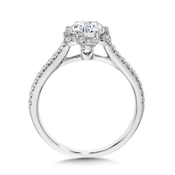 Straight Floral Halo Engagement Ring