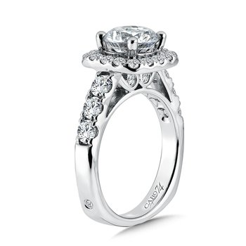 Cushion Shaped Halo Diamond Engagement Ring with Side Stones in 14K White Gold with Platinum Head (2ct. tw.)