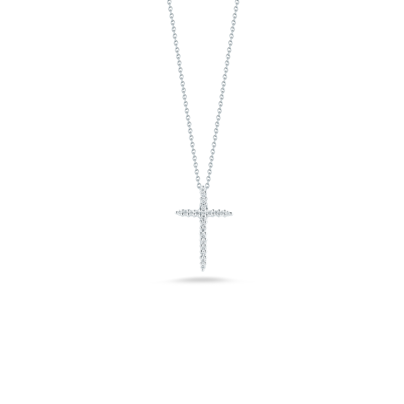 Roberto Coin  #26575 Of 18Kt Gold Cross Pendant With Diamonds