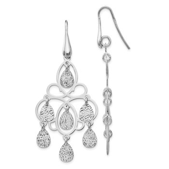 Leslie's Sterling Silver Polished Diamond-cut Dangle Earrings