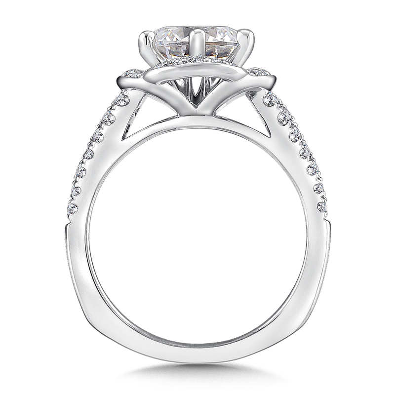 Valina Halo Engagement Ring Mounting in 14K White Gold (.47 ct. tw.)