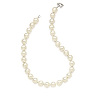 Sterling Silver Majestik Rh-pl 14-15mm Wht Imitation Shell Pearl Necklace