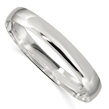 Sterling Silver 9.75mm Solid Polished Plain Slip-On Bangle Bracelet