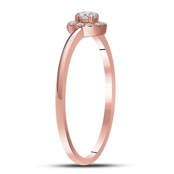 10kt Rose Gold Womens Round Diamond Solitaire Bridal Wedding Engagement Ring 1/6 Cttw