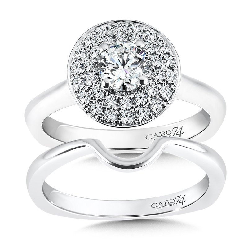 Caro74 Double Halo Engagement Ring in 14K White Gold (1/2ct. tw.)