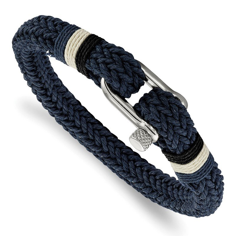 Chisel Stainless Steel Polished Woven Navy Cotton 8.5in Bracelet