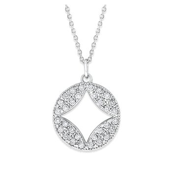 Diamond Pave Necklace in 14K White Gold with 32 Diamonds Weighing .32 ct tw