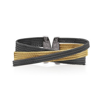 Black & Yellow Cable Twist Cuff