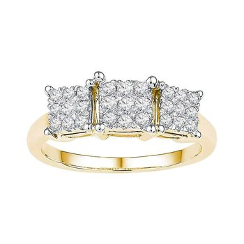 10kt Yellow Gold Womens Round Diamond Triple Cluster Bridal Wedding Engagement Ring 3/8 Cttw