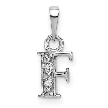 14KW Rhodium-plated Diamond Letter F Initial Pendant