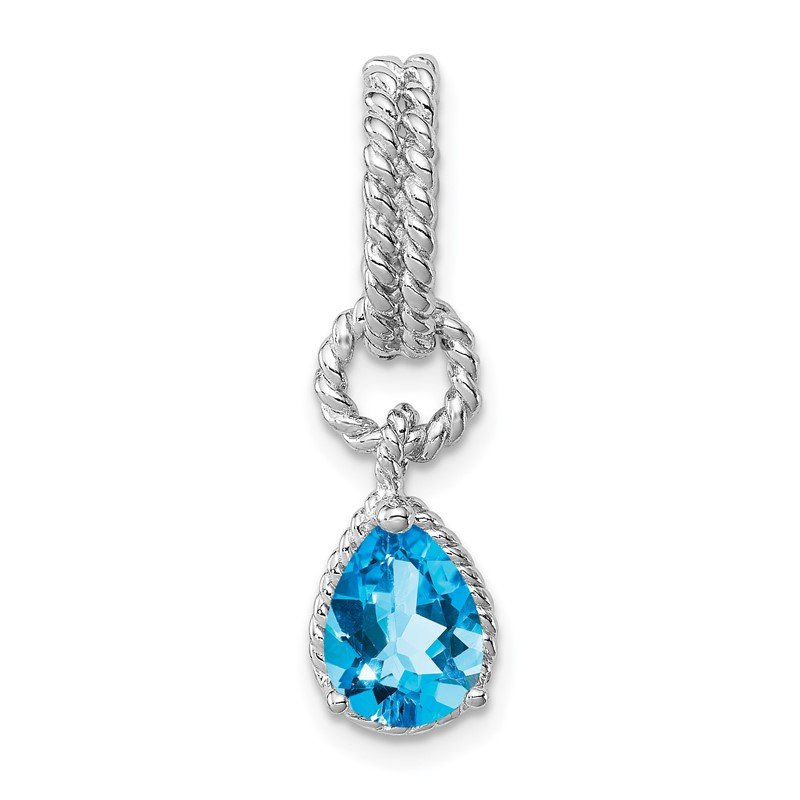 J.F. Kruse Signature Collection Sterling Silver Rhodium Blue Topaz Pear Twisted Pendant