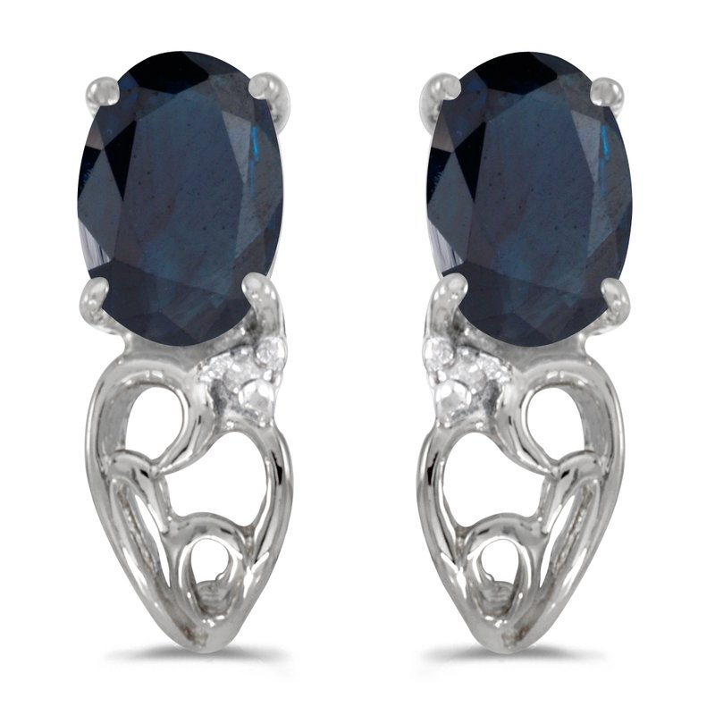 Color Merchants 10k White Gold Oval Sapphire And Diamond Earrings