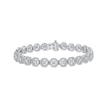 4.94 ct Round White Diamond 14K White Gold Tennis Bracelet