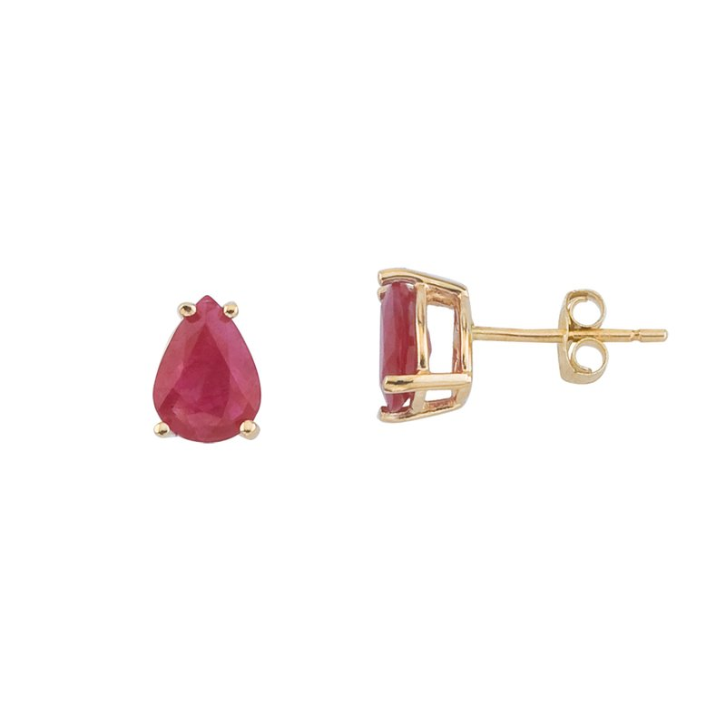 Color Merchants 14k Yellow Gold Pear Shaped Ruby Earrings
