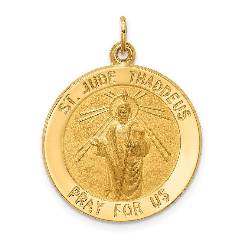 Quality Gold 14k Solid Polished/Satin Medium Round St. Jude Thaddeus Medal