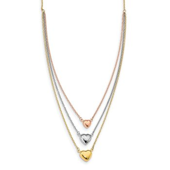 14K Tri-color Three Heart w/ 1in ext. Necklace