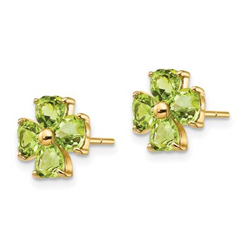 14k Heart-shaped Peridot Flower Post Earrings