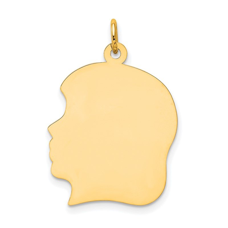 Quality Gold 14k Plain Large .009 Gauge Facing Left Engravable Girl Head Charm