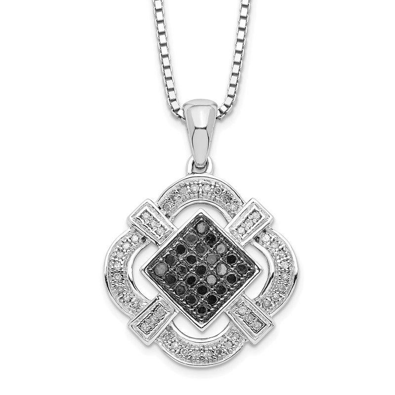 Fine Jewelry by JBD Sterling Silver Rhod Plated Black & White Diamond Pendant Necklace