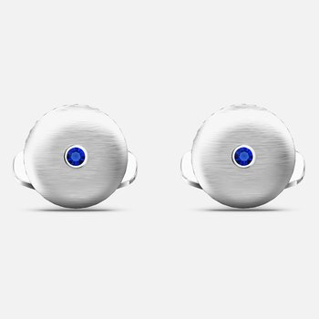 Theo Water Element Cufflinks, Blue, Rhodium Plated
