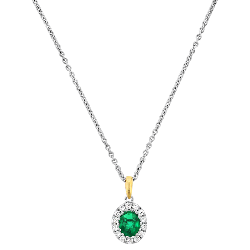 Spark Creations Emerald & Diamond Necklace