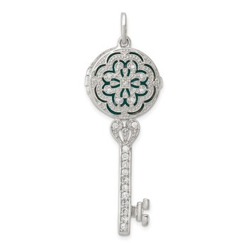 Sterling Silver Rhodium-plated CZ Filigree Top Key Locket