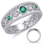 Briana White Gold Emerald & Diamond Ring