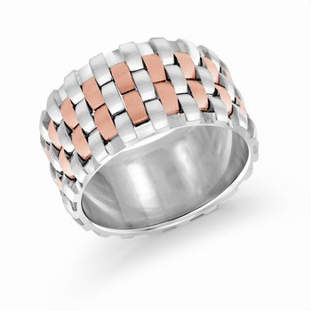 12mm two-tone white and rose gold triple interlock center band