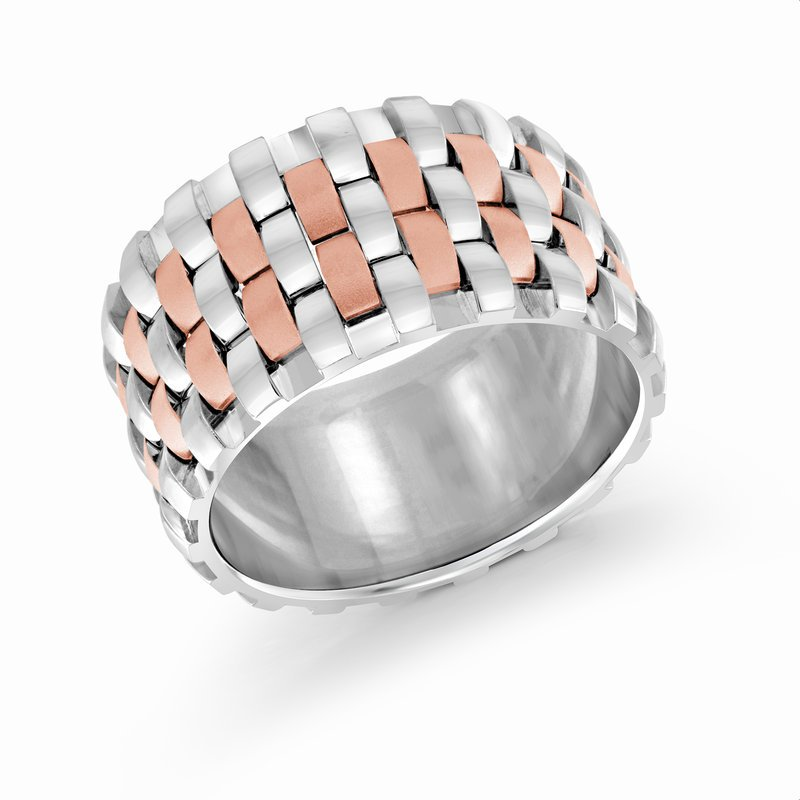 Mardini 12mm two-tone white and rose gold triple interlock center band