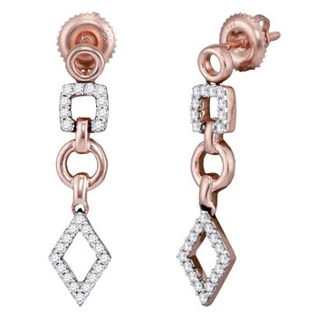 14kt Rose Gold Womens Round Diamond Geometric Dangle Earrings 1/3 Cttw