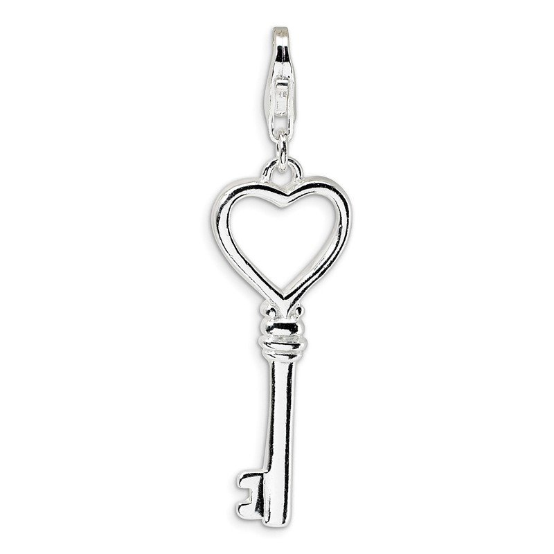 Quality Gold Sterling Silver Polished Open Heart Key w/Lobster Clasp Charm